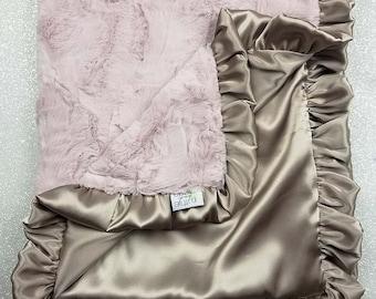 Minky Blanket, baby girl blanket, pink and gold blanket, pink and tan, shower gift, Minky and satin, silky blanket, rosewater hide, ruffle