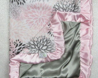 Minky Blanket, custom baby blanket, baby girl gift, floral, flowers, ruffle blanket, satin blanket, silk blanket, pink and grey, blush