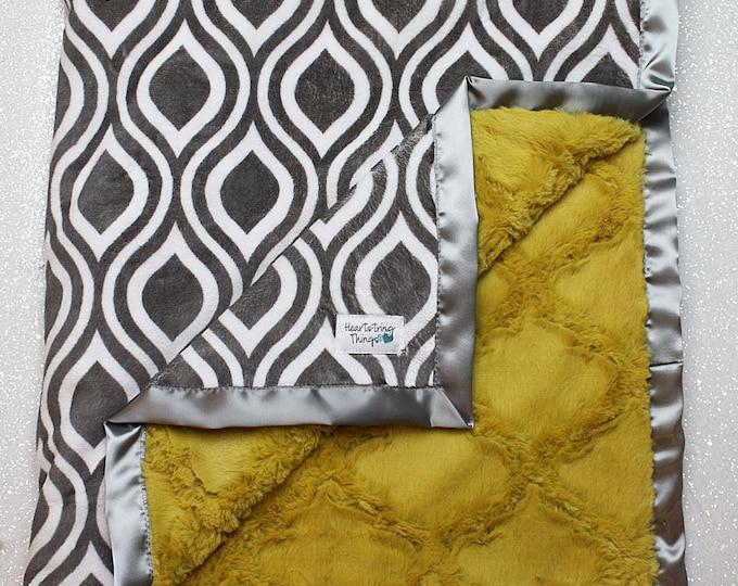 Minky Blanket, Baby Boy, Baby Girl, Unisex blanket, hipster baby, Mustard Blanket, yellow and grey, gift for women, lattice blanket, oceano