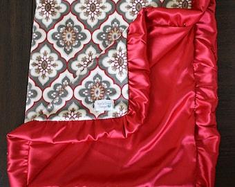 Minky Blanket, Ruffle Blanket, Satin blanket, Silky blanket, baby girl, baby boy, soft blanket baby minky blanket, red blanket, grey blanket