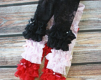 Baby Girl, lace Leggings, Double Ruffle, Lace leggings, Baby Leggings, Newborn Leggings, Lace tights, Ruffle Leggings, Ruffle tights