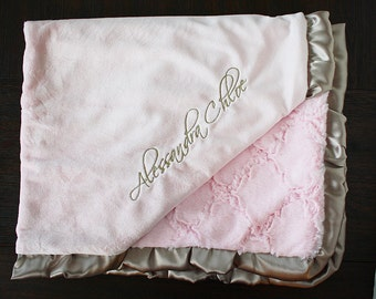 Embroidered Minky Blanket, blanket with name, gift for baby, baby boy, baby girl, wedding, personalized blanket, Pink blanket, pink and gold