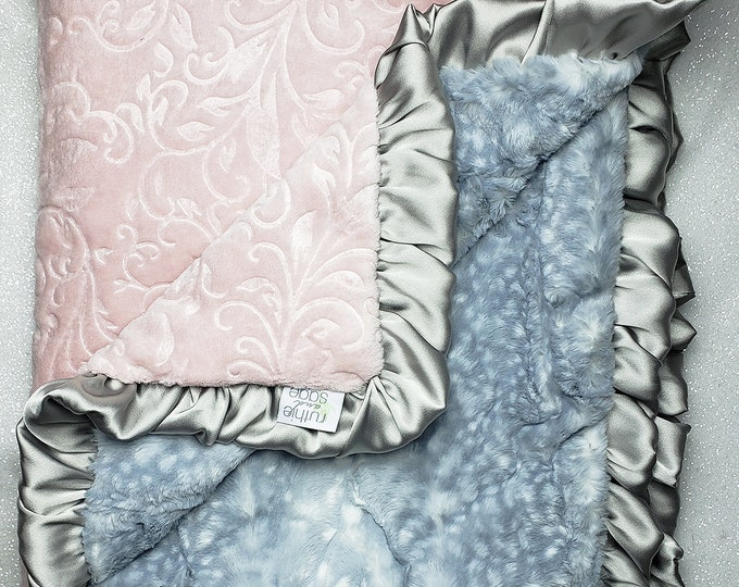 READY TO SHIP: Minky blanket, faux fur, Rosewater, baby girl blanket, vintage pink, elegant plush blanket, pink and gray, fawn, animal print