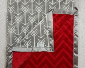 Minky Blanket, baby Blanket, baby boy,  modern blanket, hipster baby, baby girl blanket, arrow blanket, Grey and red, chevron blanket