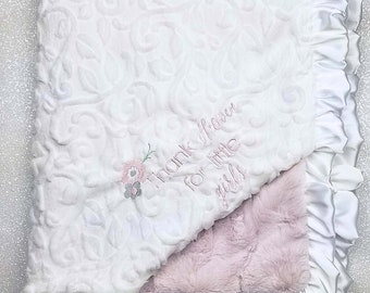 Embroidered Minky Blanket, Blanket with name, Personalized Blanket, Baby Gift, Vintage Pink, pink and white, luxe rosewater, thank heaven