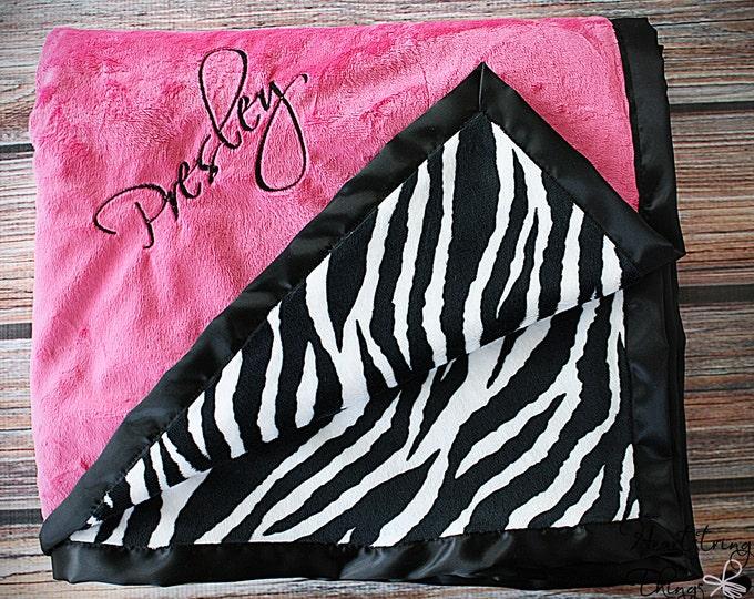 Minky Blanket, Zebra Print, Zebra Minky, Hot pink and black, Blanket for girl, Soft minky Blanket, Embroidered Blanket, Baby Girl