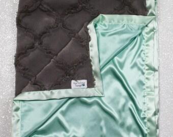 Minky Blanket, mint blanket, baby girl, silky blanket, oyster lattice, minky and satin, baby blanket, frozen, gift for teen, lattice design