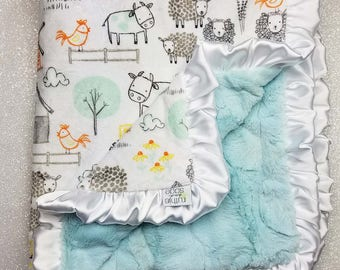Custom Minky Blanket, personalized blanket, Minky Blanket, baby boy, Farm blanket, animal minky, sheep, cow, baby girl, grey, orange, yellow