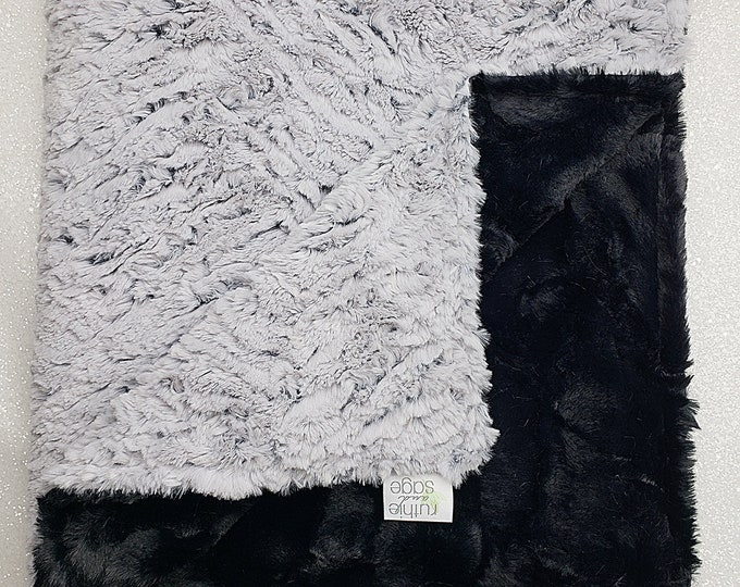 Minky Blanket, Frosted Zebra Throw, Ice grey, neutral, soft luxurious throw, Faux fur blanket, Black and Grey, Luxe minky, Plush black hide