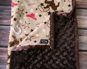 Minky Blanket, Cowboy minky, cowboy blanket, Horse blanket, brown and red, tan and brown, blanket for boy, animal blanket, baby boy, soft