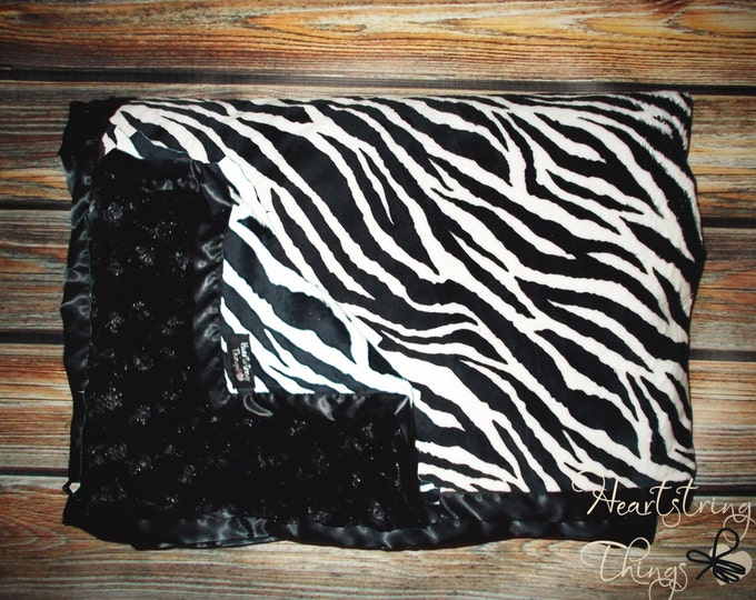 Zebra Black and White Soft and Luxurious Minky Quilt with Satin Binding for Adults, Children or Infants
