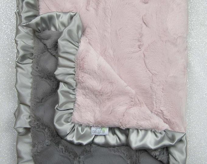 Minky blanket, luxe hide, ruffle blanket, Rosewater hide, grey lattice, baby girl blanket, vintage pink elegant plush blanket, idea for sick