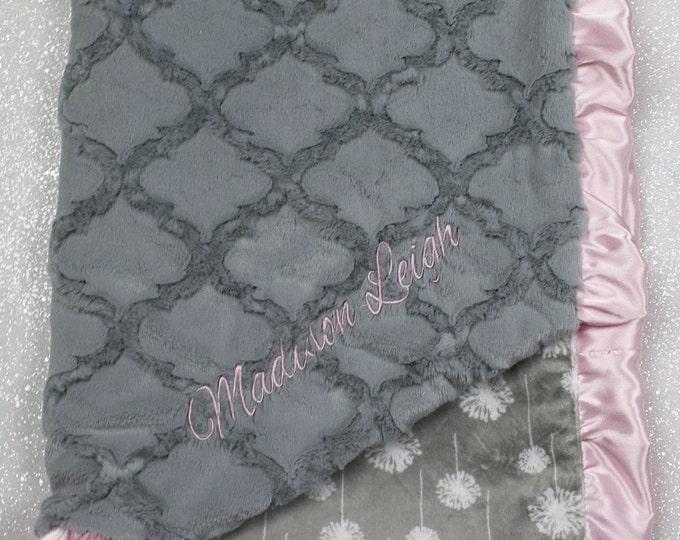 Embroidered Minky Blanket, modern baby blanket, personalized baby blanket, dandelion, monogrammed blanket, baby girl, blanket with name