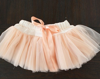 Baby girl Skirt, cake smash tutu, Soft tutu, Elegant Tutu, Pettiskirt, Peach tutu, Pink tutu, photoshoot , photo prop, newborn outfit, baby