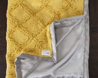 Minky Blanket, mustard blanket, yellow and grey, mustard throw, unisex blanket, gender neutral minky, soft blanket, mustard decor, baby girl