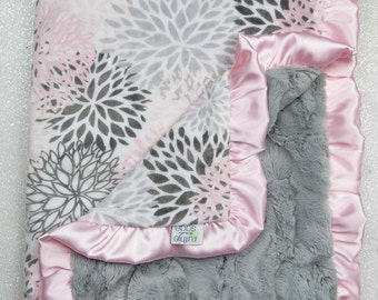 Minky blanket, baby girl blanket, baby gift, Floral blanket, PInk and grey, Custom minky blanket, Grey, Modern Bloom, Plush, blush minky