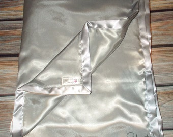 Blanket for Adult or Child Silky Satin Silver many colors available