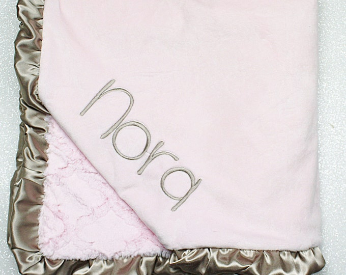 Embroidered Minky Blanket, blanket with name, baby gift, ruffle blanket baby girl, wedding personalized blanket, Pink blanket, pink and gold