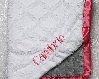 Embroidered Minky Blanket, minky baby blanket, personalized baby blanket, baby girl, minky blanket, coral grey and white, baby gift