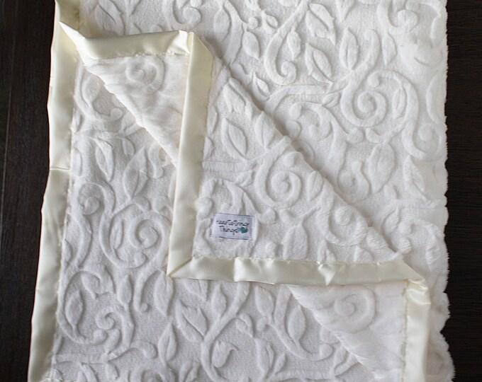 Adult minky blanket, vine minky, soft blanket, women's blanket, adult blanket, sophisticated blanket, warm blanket, ivory blanket, scroll
