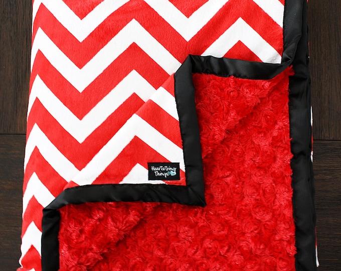 Minky Blanket, Child Blanket, chevron blanket, red and white, baby girl, baby boy, utah utes, soft blanket, red white and black, unisex