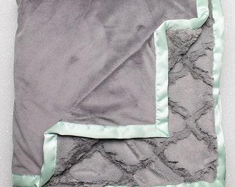 Minky Blanket, grey blanket, grey wedding gift, soft blanket, silver lattice, baby boy, grey nursery, baby girl, adult blanket minky blanket