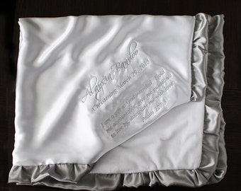 Customizable Minky Blanket, Blessing Blanket, Baptism blanket, baby gift, Christening Blanket, Embroidered Blanket, White and silver