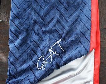 Customizable Blanket, Patriots Blanket, Minky blanket, baby boy, personalized blanket, red and blue, american blanket, navy blanket, NFL