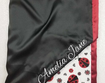 Custom Minky Blanket, personalized embroidered baby blanket, red and black, minky and satin, blanket with name, baby girl, ladybug blanket