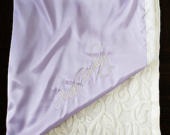 Baby Blanket, Minky blanket, Personalized blanket, baby girl, satin and minky, blanket with embroidery, monogrammed blanket, baby gift