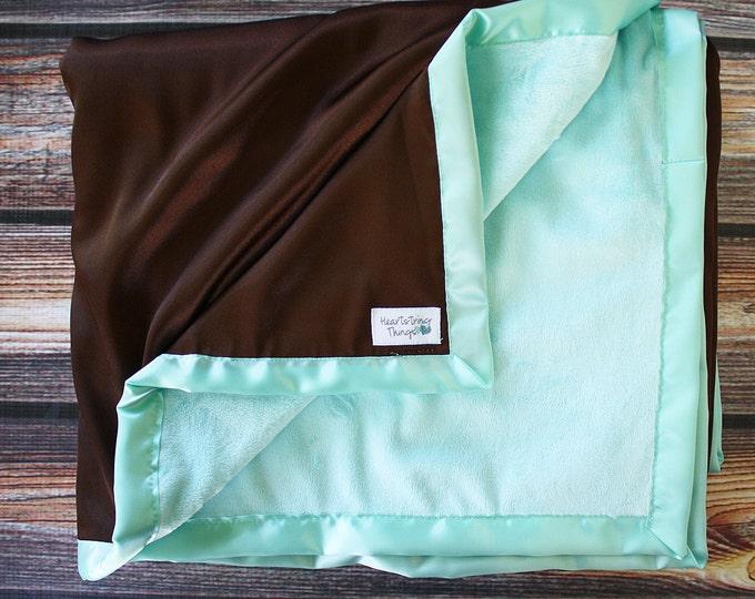 Minky Blanket, aqua blanket, Brown and Aqua, Adult minky blanket, baby girl, satin blanket, silk blanket, minky and satin, baby blanket,