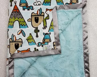 Minky Blanket, Baby boy, blanket for boy, pow wow minky, feather, teepee, cactus minky, woodland minky, soft blanket, custom minky, animals