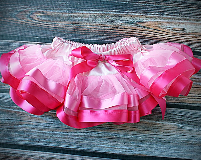 Pink tutu, Ombre Skirt, pink pettiskirt, white pettiskirt, Chiffon Ribbon Skirt, birthday skirt, birthday tutu, ombre tutu, cake smash skirt