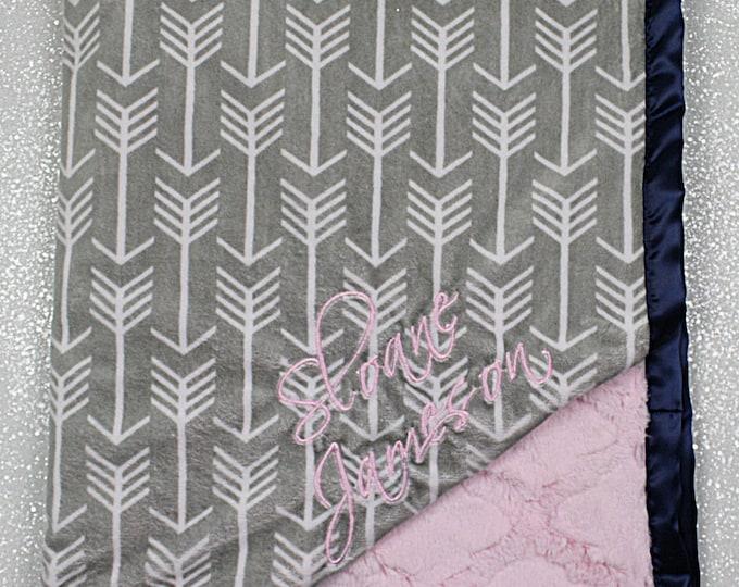 Embroidered Minky Blanket, modern baby blanket, personalized baby blanket, arrow, arrow minky, baby girl, minky blanket, baby gift