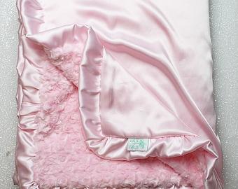 Minky Blanket, pink blanket, gift for baby girl, silk blanket, minky and satin, baby blanket, baby girl, ruffle blanket, baby gift, shower