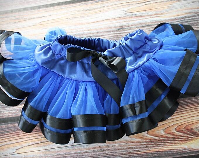Pettiskirt baby skirt ribbon skirt, cheerleader skirt Pettiskirt Satin Ribbon, blue skirt, blue and black skirt, ribbon skirt, aruba skirt