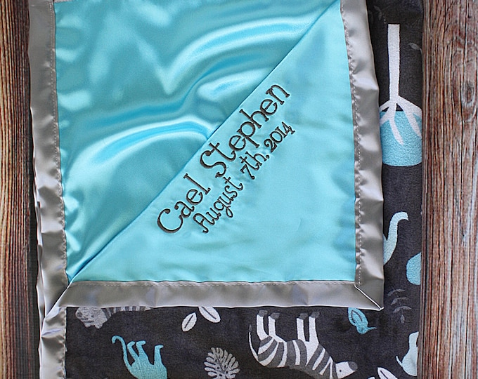 Baby Blanket, Minky blanket, jungle minky, aqua minky, grey and aqua, Animal minky, Embroidered Blanket, personalized blanket, soft blanket