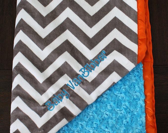 Minky Blanket, Personalized baby blanket, Embroidered Blanket, baby boy, baby girl, turquoise and orange, chevron blanket, baby gift, lovie