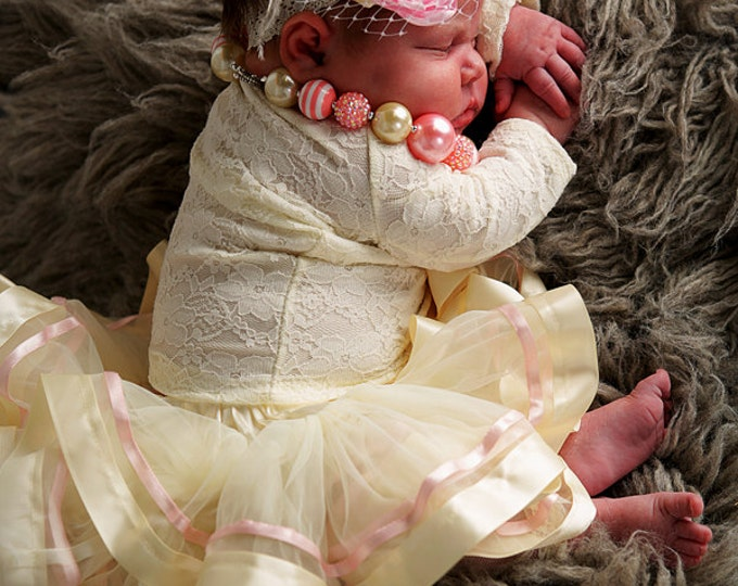 Cream Tutu, Cream Pettiskirt, Ribbon tutu, Chiffon skirt, Satin tutu, Vintage Pettiskirt, Newborn tutu, cake smash skirt,  Baby skirt