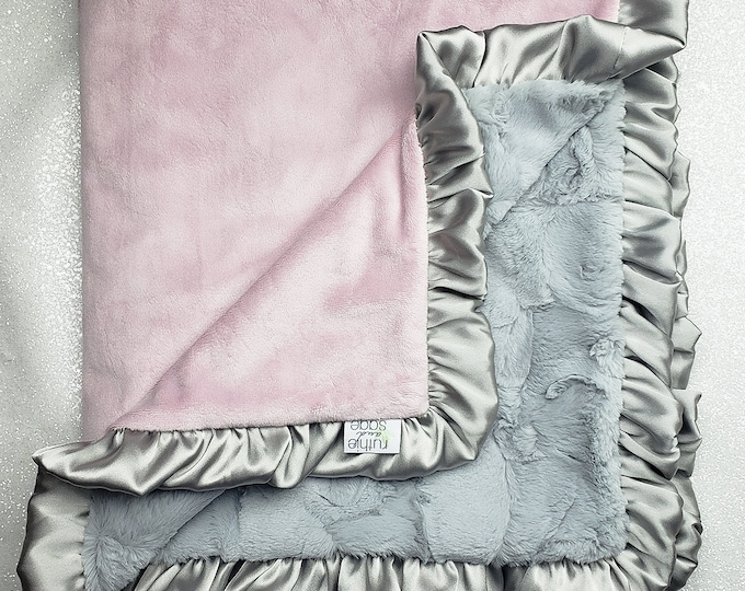 READY TO SHIP Minky blanket, baby girl blanket, baby gift, Floral blanket, Rosewater Minky, pink and grey, Elegant Blanket, ruffle blanket