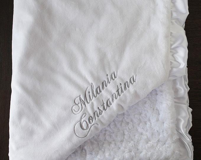 Minky Blanket, Personalized Blessing Blanket, Baby boy, Baptism blanket, Christening Blanket, embroidered blanket, monogrammed blanket