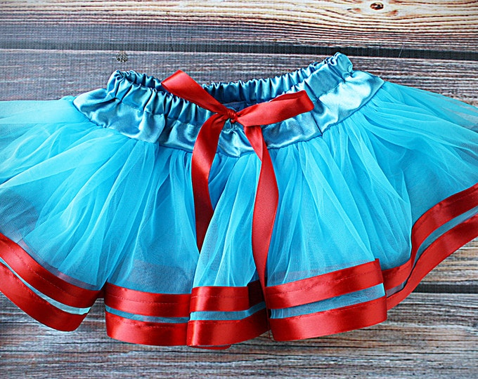 Pettiskirt, Red Chiffon, Red Tutu, Red skirt, Red and blue skirt, Ribbon tutu, blue and red tutu