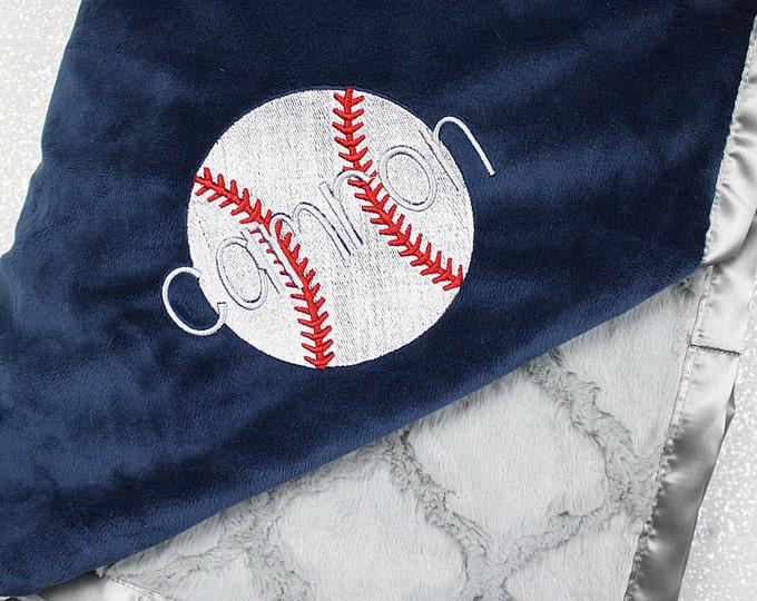 Baseball blanket, personalized baseball, sports blanket, boy blanket, navy and grey, baby boy, baseball throw, baby gift, soccer blanket