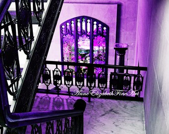 Staircase Art ,New York Photography, Purple, Stained Glass,Art  Deco,Reflections,Marble,Balcony,Shadows,Chicago Stock  Exchange,Historic,Black