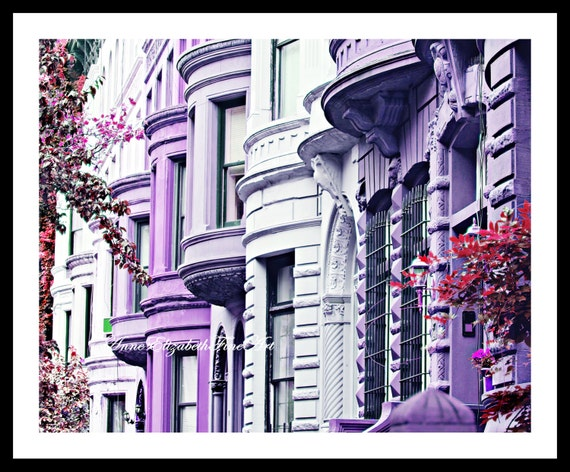 New York Photography, Brownstone Wall Art, Purple Print Art, Hipster, Dorm  Decor, Preppy, Fashion Art,Apartment,Teen,Girl ,Bedroom,Fushia