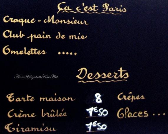 Paris Photography Menu Kitchen Art Dorm Decor Food Print Chalkboard Dessert Menu French Print Bistro Cafe European Rustic Shabby Chic Preppy
