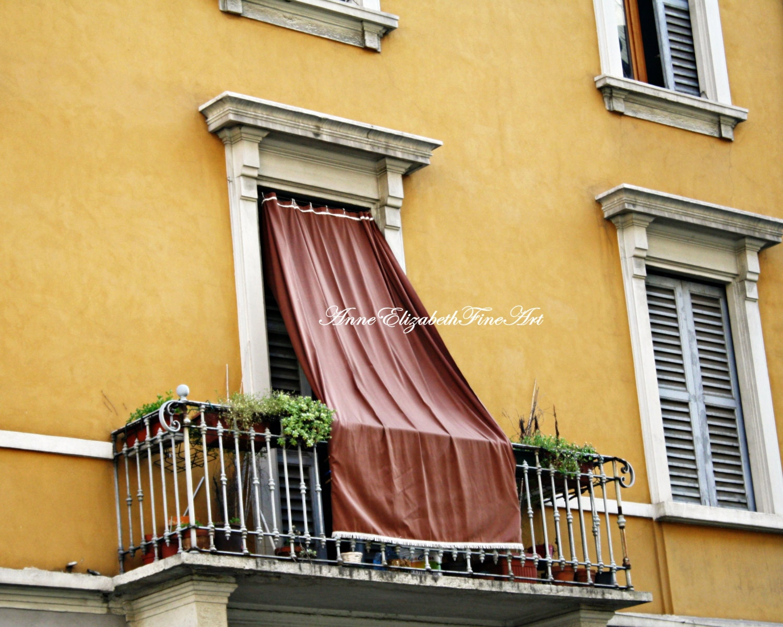 Italy Print Yellow Color Balcony Window DrapesShutters | Etsy