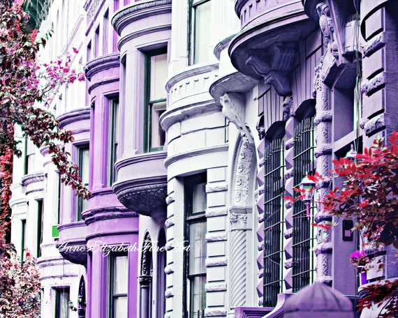 New York Photography Brownstone Wall Art Purple Print Art | Etsy