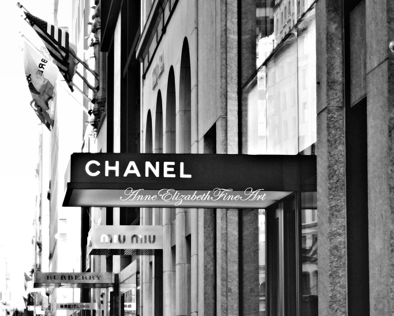 Nyc madison ave coco chanel chanel print fashion photography black white art french parisian dorm decor preppy art sign street art