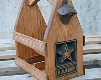 Wooden Beer Tote U.S. Army-  Beer Carrier - Six Pack Home Brew Caddy - groomsmen gift - Man cave